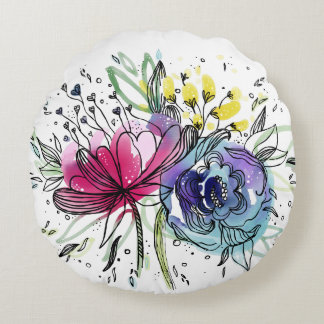 Personalized Watercolor Pink & Blue Flowers Design Round Cushion