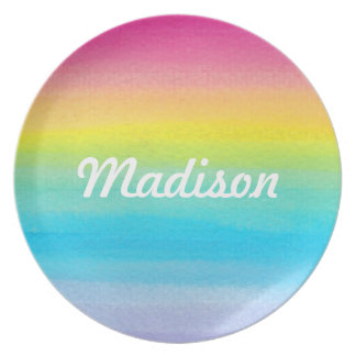 Personalized Watercolor Rainbow Plate