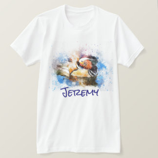 Personalized Watercolor Wood Duck T-Shirt