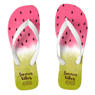 Personalized watermelon background summer vibes thongs