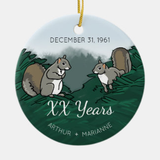 Personalized Wedding Anniversary Squirrels Ceramic Ornament