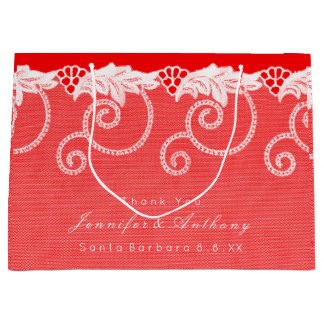 Personalized Wedding Birthday Vivid Red Royal Lace Large Gift Bag