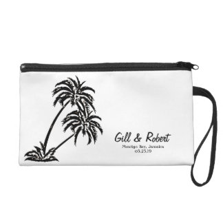 Personalized Wedding Bride Gift Palm Trees Island Wristlet Clutches