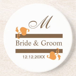 Personalized Wedding Coasters::Brown Monogram