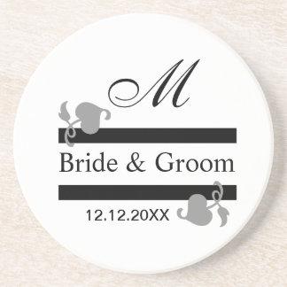 Personalized Wedding Coasters::Monogrammed Beverage Coasters