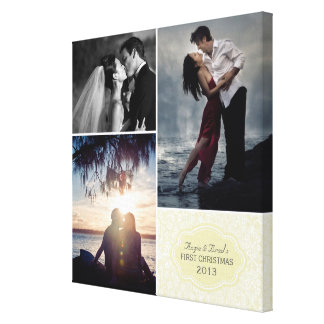 Personalized Wedding Damask Photo Collage Stretched Canvas Prints