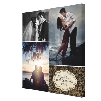 Personalized Wedding Damask Photo Collage Canvas Prints