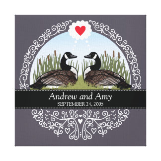 Personalized Wedding Date Anniversary, Geese Gallery Wrapped Canvas