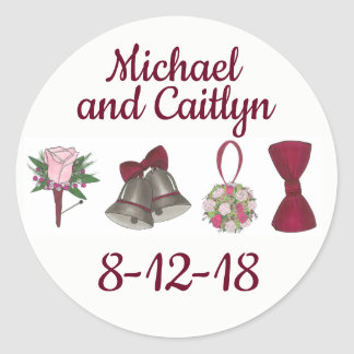 Personalized Wedding Engagement Party Bride Shower Classic Round Sticker