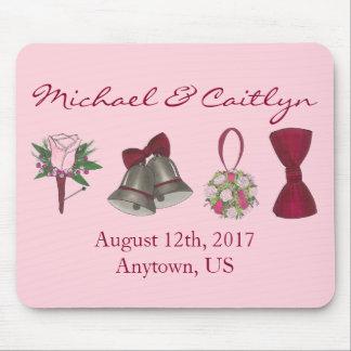 Personalized Wedding Favor Bouquet Bowtie Bells Mouse Pad