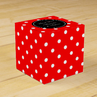 Personalized wedding favor boxes | red polka dots party favour boxes