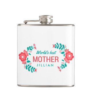Personalized Wedding Floral World's Best Mom Hip Flask