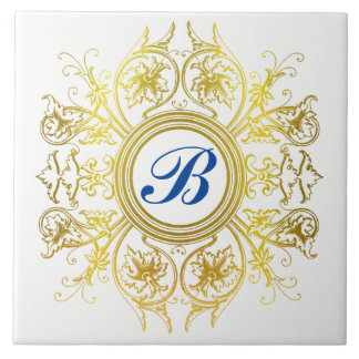 Personalized Wedding Gold Monogram Ceramic Tile