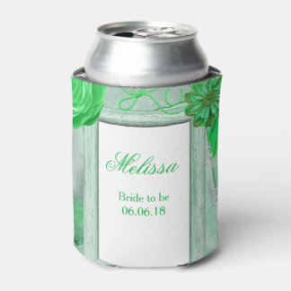Personalized Wedding Green Floral Can Cooler