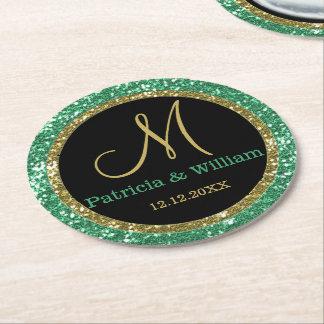 Personalized Wedding Monogram Glitter Gold Green Round Paper Coaster