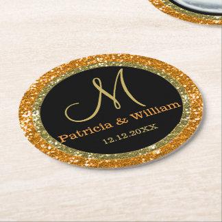 Personalized Wedding Monogram Glitter Gold Orange Round Paper Coaster