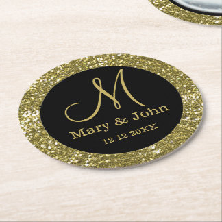 Personalized Wedding Monogram Glitter Gold Round Paper Coaster