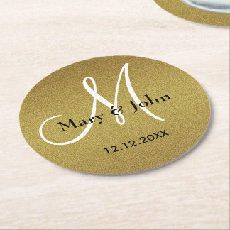 Personalized Wedding Monogram Glitter Gold Round Paper Coaster