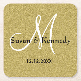 Personalized Wedding Monogram Gold Glitter Square Paper Coaster