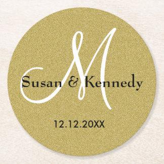 Personalized Wedding Monogram Gold Glitter Round Paper Coaster