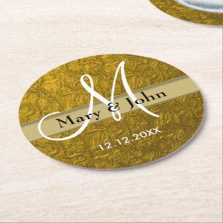 Personalized Wedding Monogram Gold Pattern Round Paper Coaster
