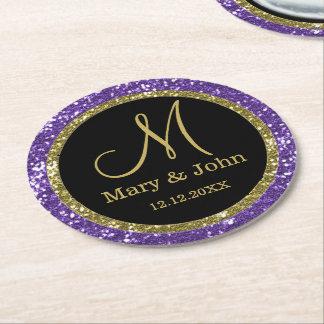 Personalized Wedding Monogram Gold Purple Glitter Round Paper Coaster