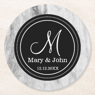 Personalized Wedding Monogram Marble Pattern Round Paper Coaster
