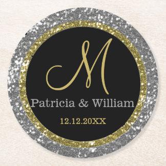Personalized Wedding Monogram Silver Glitter Round Paper Coaster