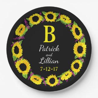 Personalized Wedding Monogram Sunflower Wreath 9 Inch Paper Plate