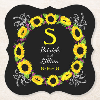 Personalized Wedding Monogram Sunflower Wreath Paper Coaster