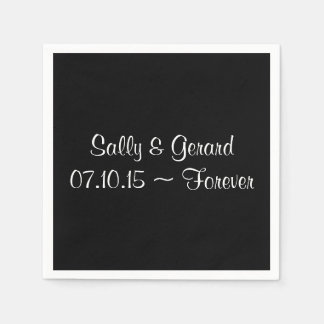 Personalized Wedding Napkin Black Back White Text Disposable Napkin