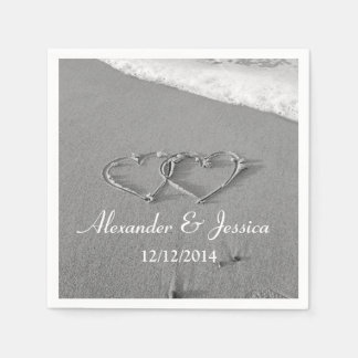 Personalized wedding napkins   drawn heart in sand disposable serviette