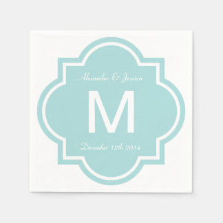 Personalized wedding napkins | Teal quatrefoil Paper Serviettes
