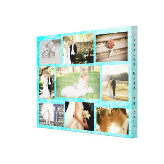 Personalized Wedding Photo Collage Wall Art Aqua