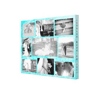 Personalized Wedding Photo Collage Wall Art Aqua
