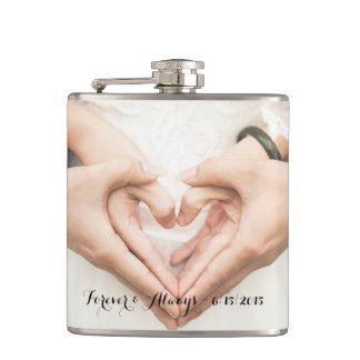 Personalized Wedding Photo Forever & Always Flask