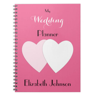 Personalized Wedding planner hot pink Notebook