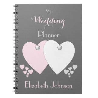 Personalized Wedding planner pink and gray Notebooks