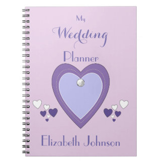 Personalized Wedding planner purple and lilac Notebooks