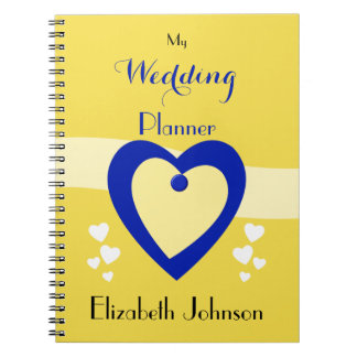 Personalized Wedding planner yellow and royal blue Spiral Notebook