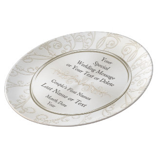 Personalized Wedding Plates, Porcelain, Your Text Plate