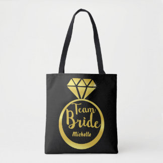 Personalized wedding ring tote bag
