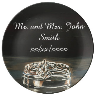 Personalized Wedding Rings Porcelain Plate