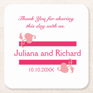 Personalized Wedding Thank You Pink On White Square Paper Coaster