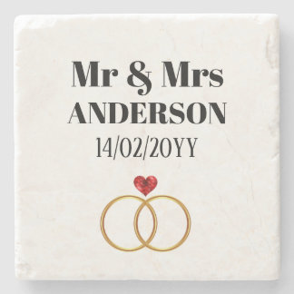Personalized Wedding / Vow Renewal / Anniversary Stone Coaster
