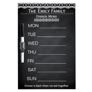 Personalized Weekly Dinner Menu Black Chalkboard Dry Erase Whiteboard