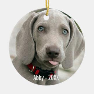 Personalized Weimaraner Dog Photo and Dog Name Ceramic Ornament