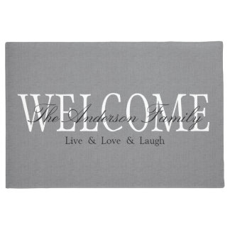 Personalized Welcome Grey Doormat
