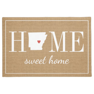 Personalized Welcome Home Arkansas Jute Doormat