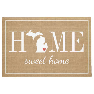 Personalized Welcome Home Michigan Jute Doormat